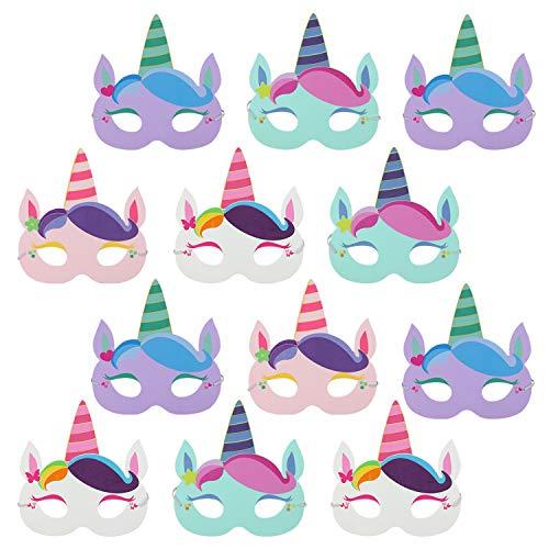 com-four® 12x Máscaras de Unicornio para niños [selección varía] - Conjunto de máscaras para cumpleaños y Fiestas temáticas (12 Piezas - máscara Unicornio)