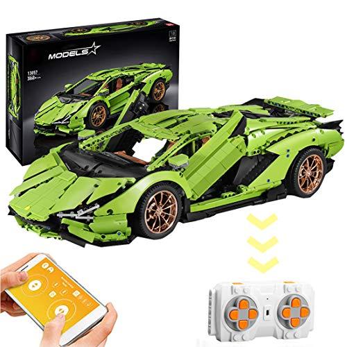Foxcm Technic - Coche Deportivo para Lamborghini, Set de Construcción con Teledirigido y 4 Motor, 3868 Bloques - Compatible con Lego