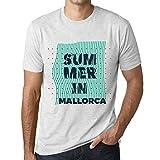 Ultrabasic - Hombre Camiseta Gráfico tee Shirt Summer Lines Mallorca Blanco Moteado