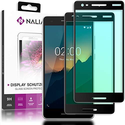 NALIA (2-Pack) Schutzglas kompatibel mit Nokia 2.1 (2018), 9H Full-Cover Bildschirm Schutz Glas-Folie, Dünne Handy Schutzfolie Display-Abdeckung, Schutz-Film Screen Protector - Transparent (schwarz)
