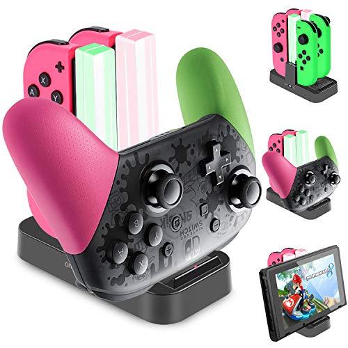 Diyife Base de Carga para Switch, 5 en 1 Cargador del Controlador para Nintendo Switch, Switch Pro Controller Dock, Estación de Carga de Controlador con Puerto USB-C, Indicador LED