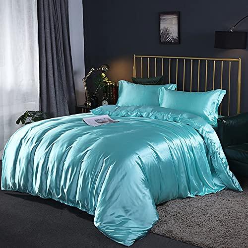 IKITOBI Sábana bajera ajustable para cama doble, suave, cómoda, lavable a máquina, transpirable, 1,8 m, sábana de cuatro piezas: funda de edredón de 220 x 240 cm