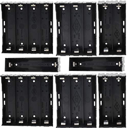 GTIWUNG 8 Stück 1/2/3/4 x 3.7V 18650 Batteriehalter Fall Kunststoff Batterie Abdeckung Aufbewahrungsbox mit Pin (1/2/3/4 Solts) + 2 Stück 18650 Aufbewahrungsbox für Batterien