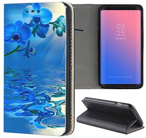 KX-Mobile - Funda para Huawei P8 Lite 2017 – Funda para Huawei P8 Lite 2017 – Funda de piel sintética diseño 1030 orquídea azul