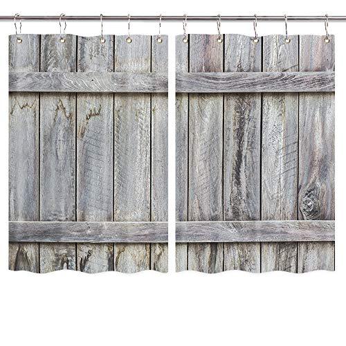 Rustic Barn Door Kitchen Curtain Wooden Window Curtain, Rustic Western Window Curtain Panels Country Window Curtains, Farmhouse Window Curtain Treatment for Living Room Bedroom 2 Panels 55 x 39 Inch