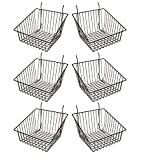 Econoco - Black Multi-Fit Sloped Front Wire Basket for Slatwall, Pegboard or Gridwall (Set of 6) Metal...