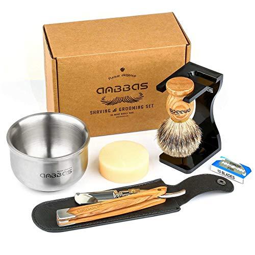Anbbas Shaving Set with Badger Brush,Stand and Bowl,Shaving Soap,Straight Razor with Bag,10pcs Blades,Shaving Kit for Men