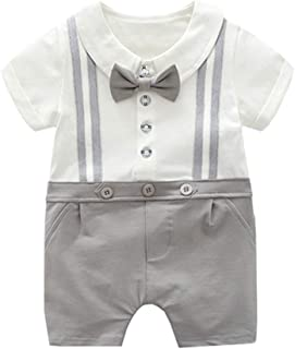 ALLAIBB Toddler Baby Boys Gentleman Summer Short Sleeve Bowknot Cotton Snap Romper (Color : Gray, Size : 90)