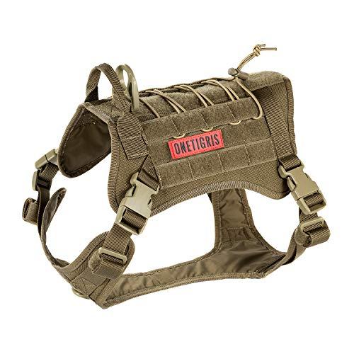 OneTigris Taktische Hundeweste Service Hundegeschirr MOLLE Hundeausbildung Geschirr 1000D Nylon (L, Braun)