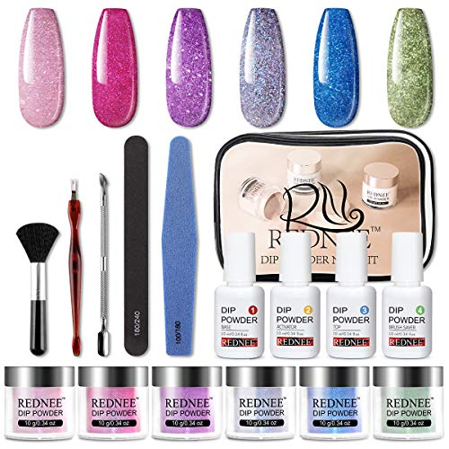 REDNEE Dip Powder Nail Starter Kit 6 Colors with Gel Liquid Essential Tools 16pcs Dipping Powder for Travel - RE05 Starry Color