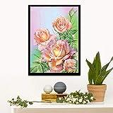 ZXXGA DIY 5D Kit de Pintura de Diamante por número de Flor Rosa Animal Punto de Cruz Suministros de Imagen artesanía Etiqueta de la Pared decoración Diamante Cuadrado Sin Marco 30x40cm
