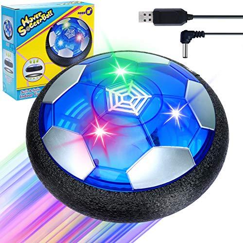 Sinwind Air Power Fußball Kinderspielzeug, Kinderspielzeug Fußball Hover Power Ball Air Fussball mit LED-Licht Geschenke für Junge Mädchen Indoor Outdoor Spiele (Wiederaufladbar)