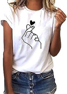 comprar comparacion Luckycat Mujeres Camisetas Letras Impresas T Shirt Elegante Manga Corta Túnica Casual Suelto Blusas Camisas Tops