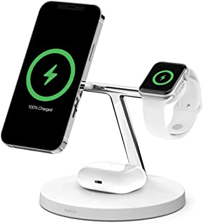 Belkin ワイヤレス 充電器 MagSafe認証品 iPhone 12 / mini/Pro/Pro Max/Apple Watch/AirPods 対応 最大15W ホワイト WIZ009dqWH-A