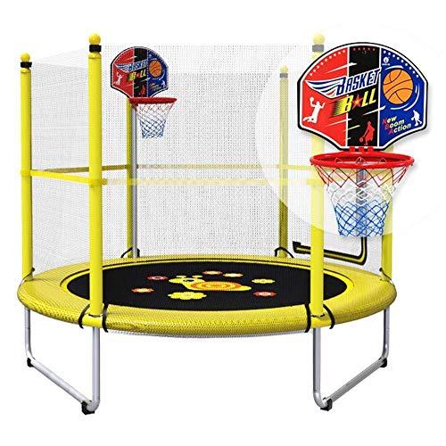 ZHAOJBC Trampoline voor oefenruimtes, met slot en basketbalkorf, ongeveer 150 en tijd, 120 cm, veiligheid en bescherming tegen botsingen