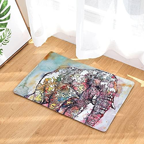 Alfombrilla para puerta de decoración del hogar, alfombrilla para piso con estampado de elefante de dibujos animados, alfombra antideslizante, alfombra de bienvenida, alfombra para puerta A3 40x60cm
