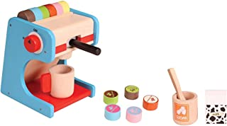 Brainsmith Wooden Coffee Maker Toy Set - Kid's Coffee Machine with Pods, Milk Carton and Real Design - Non Toxic Kitchen R...