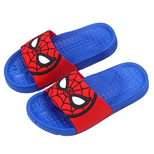 Hflyy Pantoufles Garçons Enfants Spiderman Flops Chaussures Salle Bain D intérieur Sandales Plage D été Fond Souple Chaussures Bateau Légères Casual Fashion Water Shoe,Blue-26 Inner Length 17cm