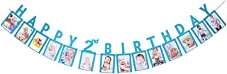 Hatcher lee Happy 2nd Birthday Two Year Photo Banner Blue Foiled for Wedding Sign Bridal Shower Banner Hen Night Bunting