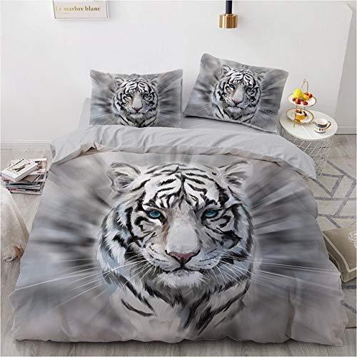 Mdsfe 3D Bedding Sets Black Duvet Quilt Cover Set Comforter Bed Linen Pillowcase King Queen 140x210cm Size Animal Tiger Design Printed - tiger006-Gray, Double