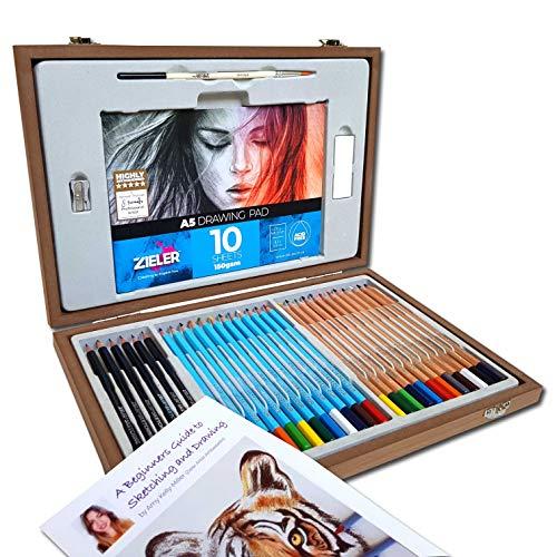 Set di matite per artisti di Zieler® - 12 matite acquerellabili, 12 matite colorate e 6 matite per schizzi / grafite, temperamatite in metallo, gomma e blocco da disegno. Include la guida introduttiva