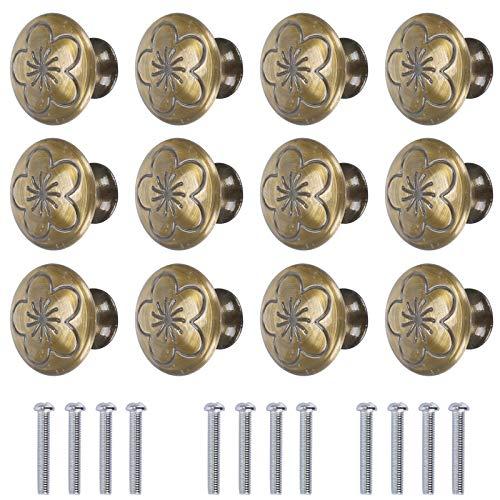 KAILEE 12pcs Pomos y Tiradores Vintage, Tiradores para Cajones Brone 30mm Pomos y Tiradores de Muebles para Puertas Armarios...