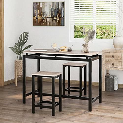 Uni-Fam Bartisch-Set, Bar Tisch und Stühle aus Eisenholz, Küchentisch und Stühle, Stehtisch und Barhocker, Restaurant, Stehtisch aus dunklem Holz