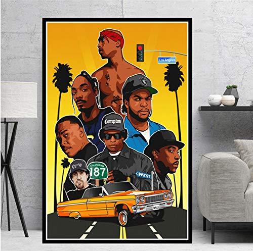 QINGRENJIE Leinwand Ölgemälde Notorious 2Pac NWA Rapper Star Collage Poster druckt Kunst Wandbilder Wohnzimmer Home Decor 50X70 cm ohne Rahmen
