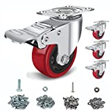 Caster Wheels 3 inch Set of 4, with Safety Dual Locking Bearing Casters, and Polyurethane Foam No Noise Wheels, Heavy Duty - 250 Lbs Per Casters(Bonus of 2 Hardware Kits)