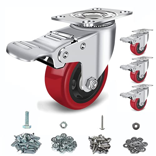 Caster Wheels 3 inch Set of 4, with Safety Dual Locking Bearing Casters, and Polyurethane Foam No...