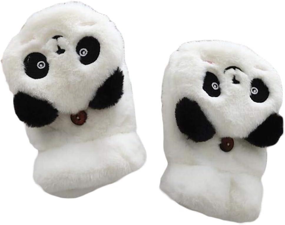 1 Pair Women's Plush Winter Gloves Cute Panda Fingerless Flip Mitten Gloves, White