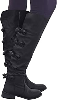 Womens Knee High Tall Boots Flat Low Heel Back Bow Tie Winter Shoes with Side Zip