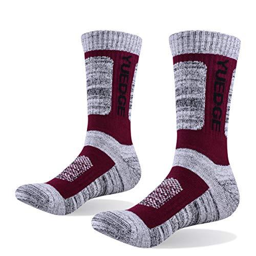 YUEDGE Men's 5 Pairs Wicking Breathable Cushion Comfortable Casual Crew Socks Outdoor Multi Performance Hiking Trekking Walking Athletic Socks (XL)