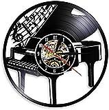 tjiaxu Disco de Vinilo Reloj de Pared Lámpara de Noche Colgante 7 Colores Control Remoto Instrumento Musical Piano Silueta...