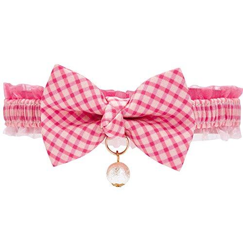 Blueberry Pet Einzelpackung Pink Karo Breakaway Handgemachte Fliege Katzenhalsband mit Weißer Kunstperle, Hals 21,5cm-30cm