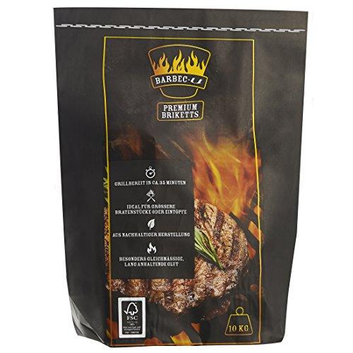 Barbec-U Briquettes de charbon de qualité supérieure, 5 kg, charbon de bois, briquettes, charbon à brûler, prêt en 35 minutes, certifié FSC, charbon pour barbecue et braise à combustion lente