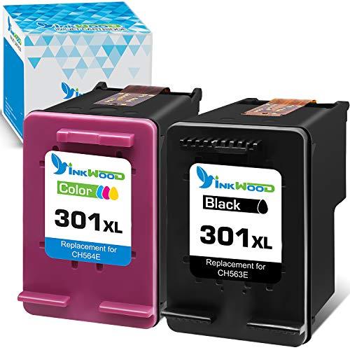 Inkwood Ersatz für HP 301XL 301 XL Schwarz Farbe 2-Stück Wiederaufbereitet Druckerpatrone für DeskJet 3050 1050 2544 3055a 2540 2547 2549 3059a 1510 OfficeJet 4632 4636 2620 Envy 4504 4508 Drucker