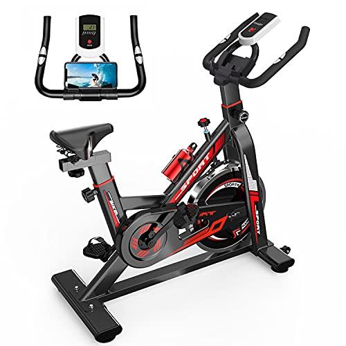 GJXJY Cyclette Resistenza Magnetica Regolabile Macchina da Ciclismo Stazionaria per Interni con Schermo LCD Heart Monitor, Portabottiglie e Supporto per Telefono Biciclette da Allenamento