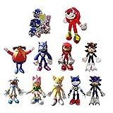 Sonic Big Suit 9 Stück/Set Figur + 1 Plüsch Cartoon Blau Sonic Plüsch Spielzeug Anime Spiel Igel...
