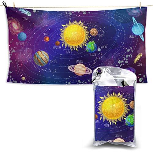Cartoon Solar System Scientific Concept Comets Baby Towel Microfiber Microfiber Body Towels Beach Microfiber Towel Travel Bath Towel 27.5'' X 51''(70 X 130cm)best For Gym Travel Camp Yoga Fitnes