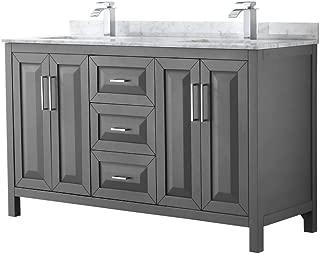 Wyndham Collection Daria 60 inch Double Bathroom Vanity in Dark Gray, White Carrara Marble Countertop, Undermount Square Sinks, and No Mirror