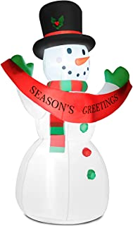 Tangkula 6FT Christmas Inflatable Snowman, Smiling Snowman with Internal LED Lights Banner Top Hat Scarf, Convenient Storage & Easy Handling, Outdoor Indoor Holiday Decorations