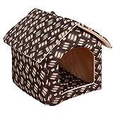 R-Cors Chien Lit, Chaud de Chien Coussin Grande Taille Maison Panier pour Chat Animaux de Deluxe Tente Moelleux Lit pour Animal Automne et Hiver Coussin(Marron,M)