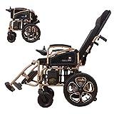 Yuiop Silla de Ruedas eléctrica Ligera de 250 vatios para Ancianos discapacitados Silla Plegable portátil portátil Control Remoto Scooter para discapacitados Batería de 24 V Li-LON,Marrón