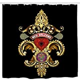 UDFK Queen New Orleans Fleur De Lis PC Blk Bathroom Shower Curtain Funny Shower Curtains Durable Bath Waterproof Bathroom 6072 Inch 72x72 Inch