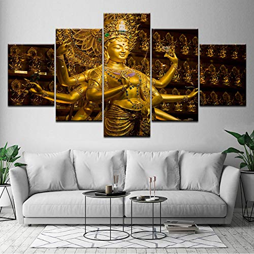 Wqixu Posters Prints Wall Art Canvas Paintings Home Decor Living Room Hd Prints 5 Pieces Avalokiteshvara Buddha Paintings Bodhisattva Poster Pictures