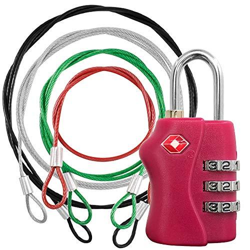YuCool TSA-zertifiziertes Schloss und 4 Farben Edelstahl Sicherheitsgurt,Reisegepäckschloss mit Umhängeband,Sicherheitskabel zum Schutz Ihrer verschiedenen Größen von Taschen,Koffer, Gepäck