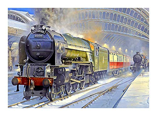 Puzzle The Flying Scotsman 60156 Jigsaw, Wooden Retro Train Station 300/500/1000 Pieces Set - Every Piece is Unique, Pieces Fit Together Perfectly (Size : 300pcs )