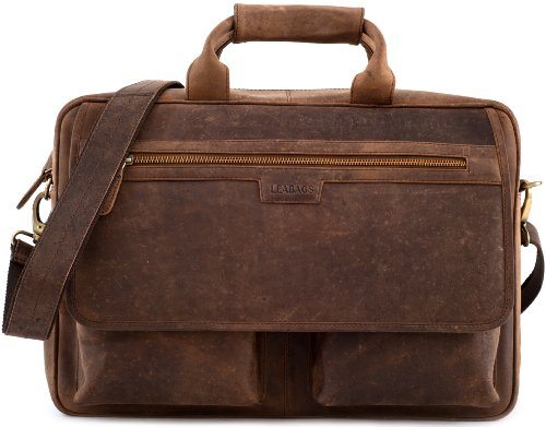 LEABAGS 'Dublin' Aktentasche Echt-Leder Umhängetasche Laptop 15 Zoll Schultertasche Herren und Damen DIN A4 Format Vintage Look Ledertasche Henkeltasche Businesstasche - Muskat