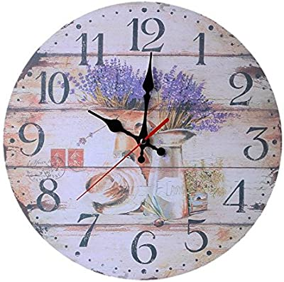 Contemporay Home Deco High quallity Vintage Style Non-Ticking Silent Antique Wood Wall Clock -